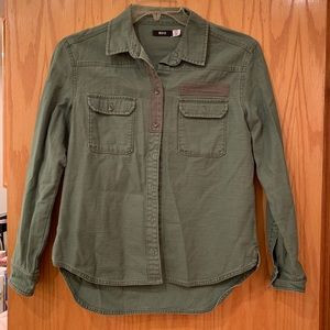 Olive utility button down